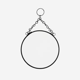 Madam Stoltz ronde spiegel d15 - zwart