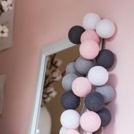 Cotton ball lights - grijs/roze