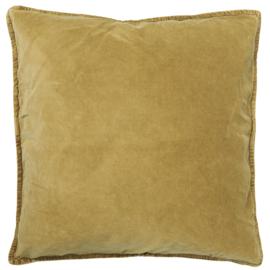 Ib Laursen kussenhoes velvet 50x50 - mustard