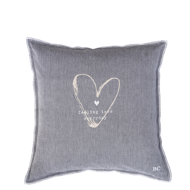 Bastion Collections kussenhoes feeling love - grijs/blauw