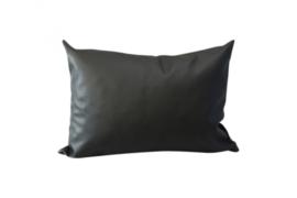 Buitenkussen leatherlook - zwart