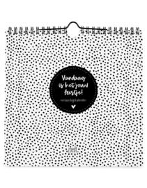 Zoedt verjaardagskalender vierkant - zwart/wit