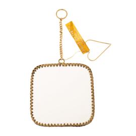Spiegeltje vierkant - antiek brass