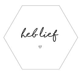 Label-R hexagon heb lief - wit