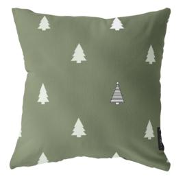 Label-R buitenkussen kerstboom - olijfgroen