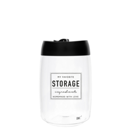 Bastion Collections voorraadpot glas l storage - zwart