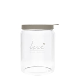 Bastion Collections voorraadpot glas l love - titane