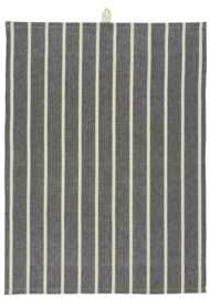 Ib Laursen theedoek stripe - zwart/naturel
