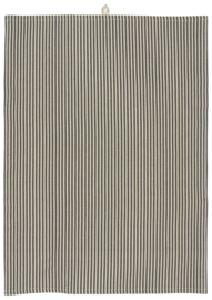 Ib Laursen theedoek stripes - zwart/naturel