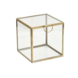 Glazen box 13x13 - messing
