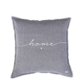 Bastion Collections kussenhoes home stories - grijs/blauw