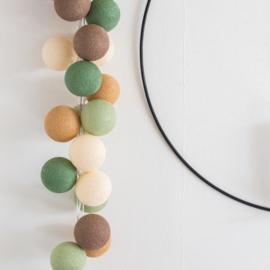Cotton ball lights - forest green