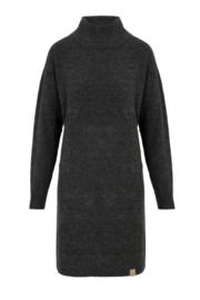 Zusss gebreide jurk met col - grafietgrijs