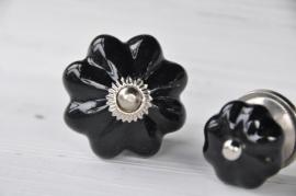 Knop bloem l - zwart