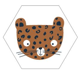 Label-R hexagon leopard - hazel