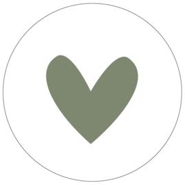 Label-R muurcircel hart 30 - olijfgroen