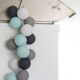Cotton ball lights - grijs/mint