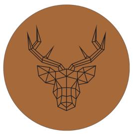 Label-R muurcirkel rendier - bruin
