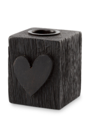 kaarsenstandaard hout hart - zwart