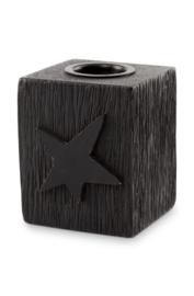 kaarsenstandaard hout ster - zwart