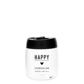 Bastion Collections voorraadpot glas s happy - zwart
