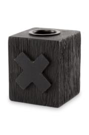 kaarsenstandaard hout kruis - zwart