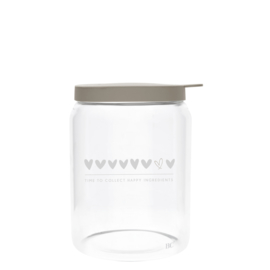 Bastion Collections voorraadpot glas l hearts - titane