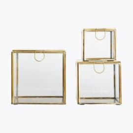 House Doctor glazen box - antiek brass