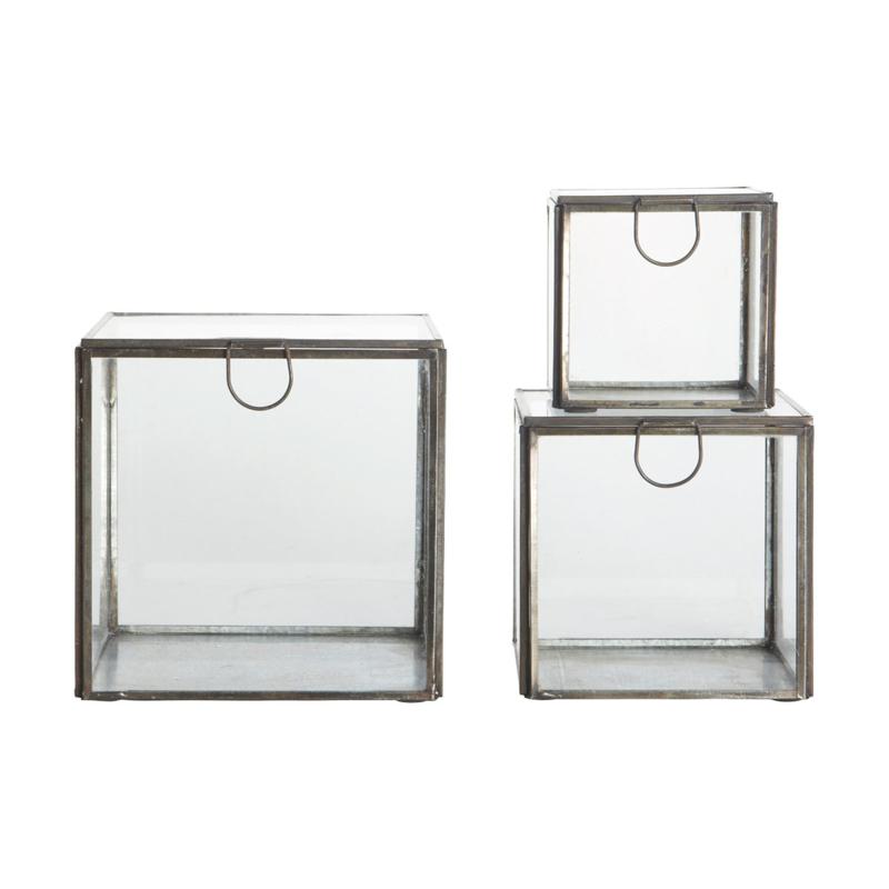 House Doctor glazen box - antiek zwart