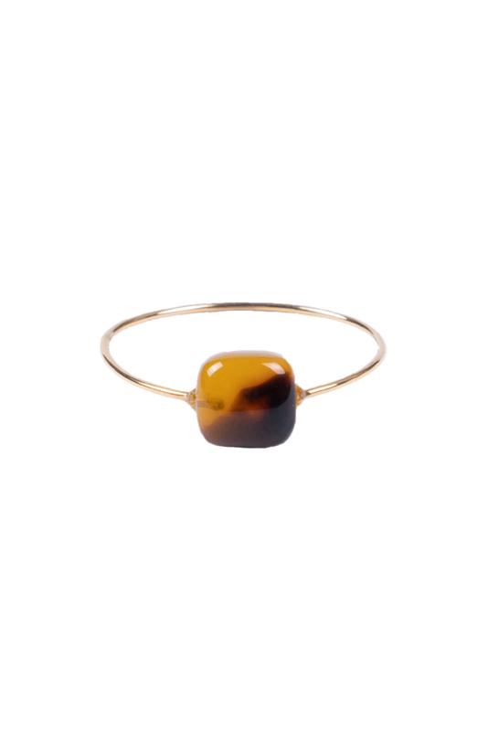 Zusss ring met bruine steen