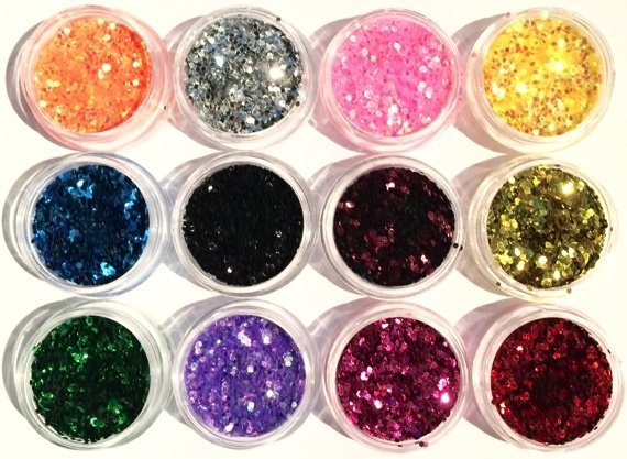 glitter acryl hexagoon 1mm (in opbergdoosje)