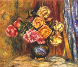 Renoir, Stilleven, rozen voor blauw gordijn