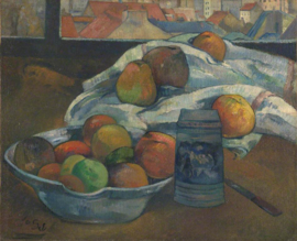Gauguin, Fruitschaal en kroes voor het raam