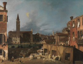 Canaletto, Stonemason's yard in Venetië
