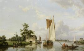 H. Koekkoek, Hollandse rivierscene met een zeilende aak en vissers