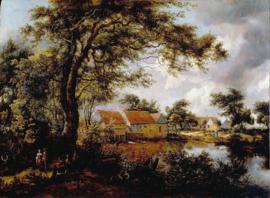 Hobbema, Boslandschap met watermolen