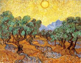 Van Gogh, Olijfbomen met gele lucht en zon