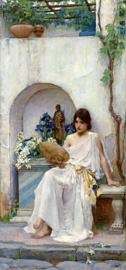 Waterhouse, Flora in een witte jurk