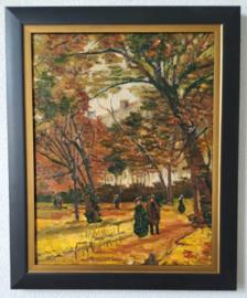 Van Gogh: Wandelaars in het Bois de Boulogne, ingelijst