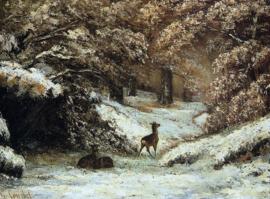 Courbet, Reeën in de sneeuw