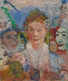 Ensor, Oude dame met maskers