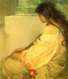 Mucha, Meisje met los haar en tulpen