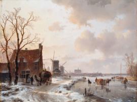 Schelfhout, Winterlandschap met paarden op het ijs