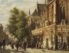 w. Koekkoek, Talloze figuren in een zonnige straat bij een kerk