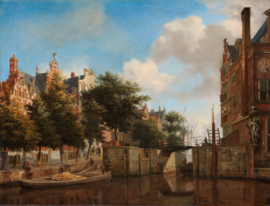 Van der Heyden, De Herengracht en de Haarlemmersluis, Amsterdam