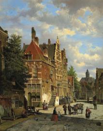 W. Koekkoek, Hollandse stadsscene met figuren
