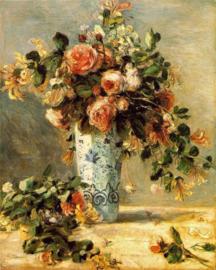Renoir, Rozen en jasmijn in een Delfts blauwe vaas