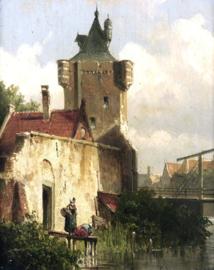 W. Koekkoek, Figuren langs de kant van een kanaal