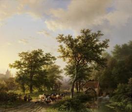 B.C. Koekkoek, Landschap met watermolen en veedrijvende boeren