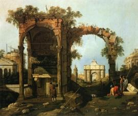 Canaletto, Capriccio: landschap met ruïnes
